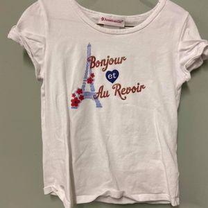 American Girl 10/12 White French Tshirt Bonjour